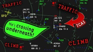 [REAL ATC] United and Cathay receive TCAS-RA inbound San Francisco!