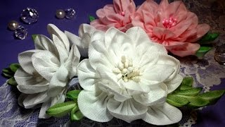 Fabric flowers: camellia kanzashi/tutorial/Цветы из ткани:камелия канзаши. МК(, 2016-06-26T09:58:32.000Z)