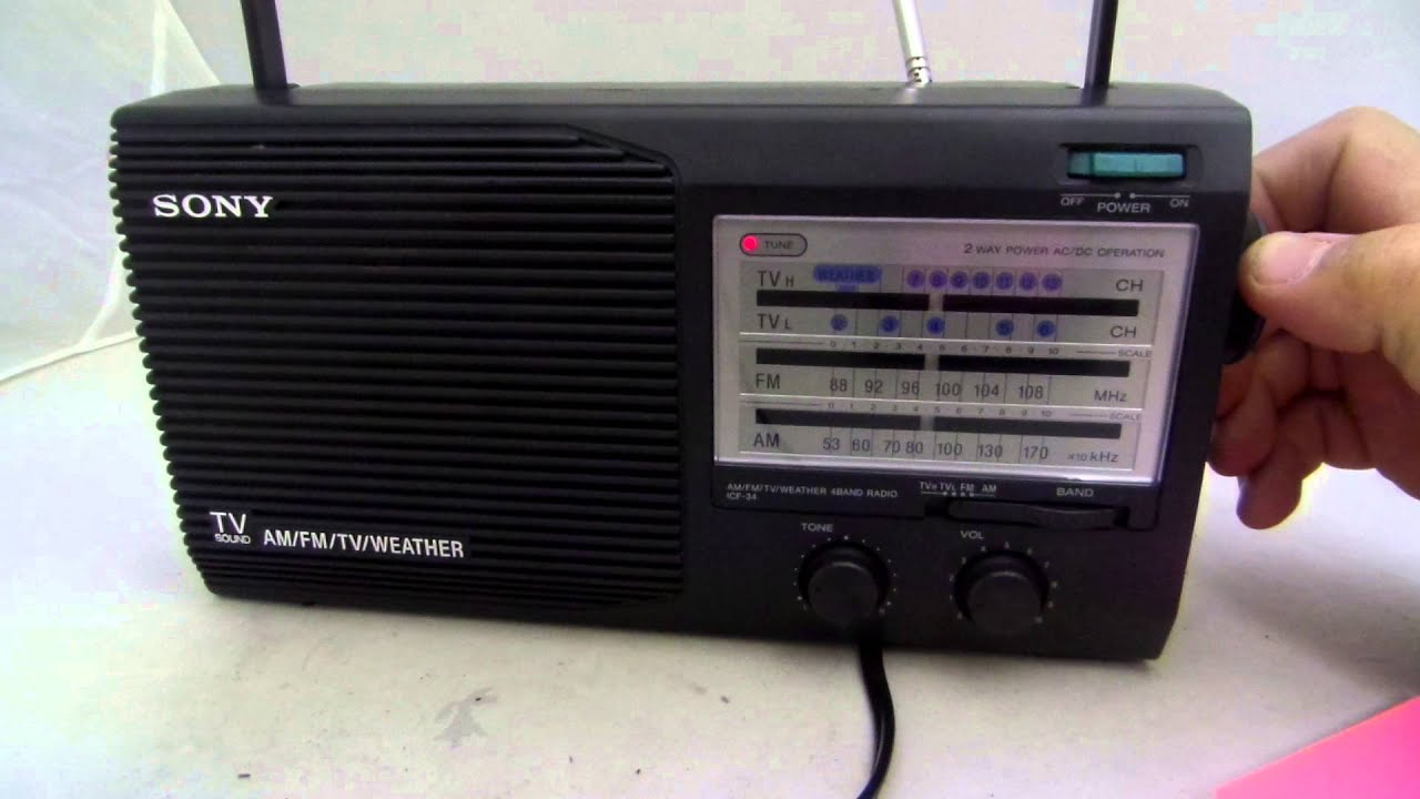 sony icf 34 am fm tv weather radio for sale on ebay youtube. Black Bedroom Furniture Sets. Home Design Ideas