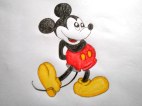 How To Draw A Cartoon Mickey Mouse Easy Way Drawing Youtube