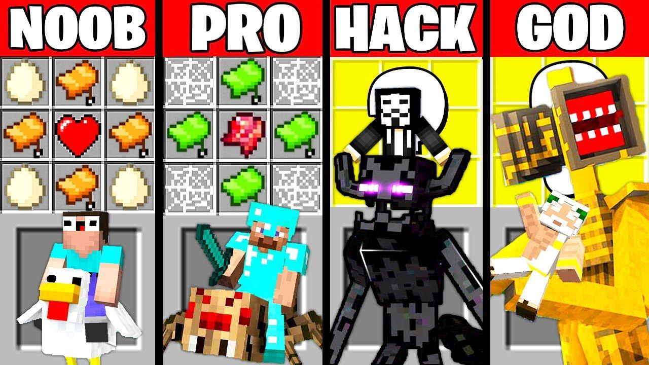 Minecraft Battle: MONSTER PET MOD CRAFTING CHALLENGE - NOOB vs PRO vs HACKER vs GOD Funny Animation