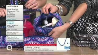 Vera Bradley Signature Print 4-Piece Cosmetic Organizer on QVC