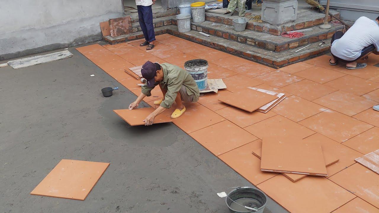 DỄ DÀNG Với Cách Lát Gạch Đỏ Đẹp này | Paving With Brick And Cement | Construction art