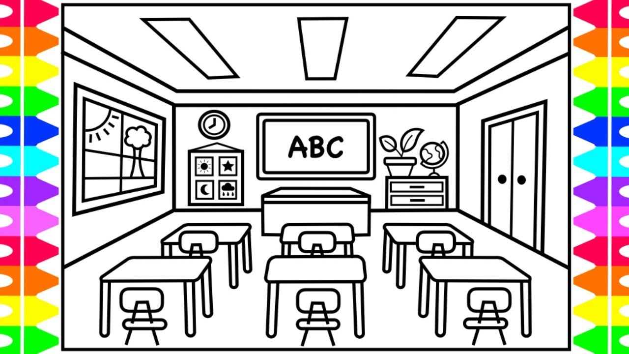 How to Draw a CLASSROOM for KIDS 🍏🎒📚✏️ Classroom Drawing for Kids | Classroom Coloring Pages Kids
