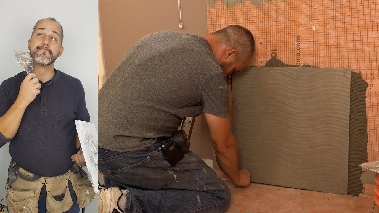 How to Install 24 x 24 Porcelain Tile on the shower wall - YouTube