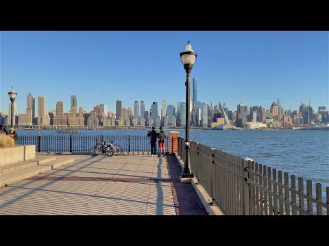 📹 4K HDR 60FPS | 🚶 Manhattan Skyline Hudson Waterfront Walk | 🌆 West New York, NJ | 🇺🇸 United States