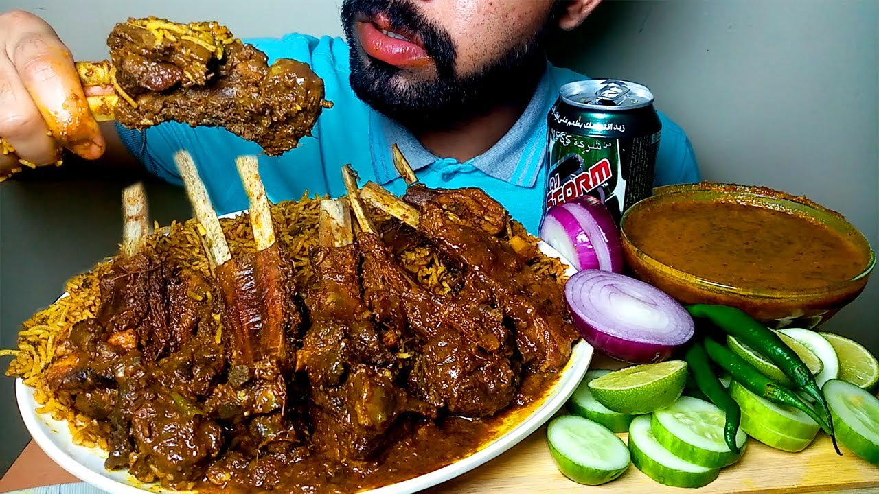 MUTTON BIRIYANI WITH SPICY MUTTON CURRY EATING SHOW#HUNGRYPIRAN