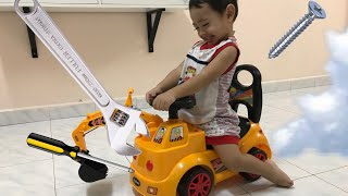 Funny Baby Rayyan Crash And Assembling The Tractor 🚜 For Baby