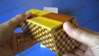 The 5 Step Right & Left Natural Wood And Ichimatsu Japanese Puzzle Box