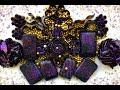 Set of black soap. Cubes, crispy soap plates. Dry soapy flowers crumble
