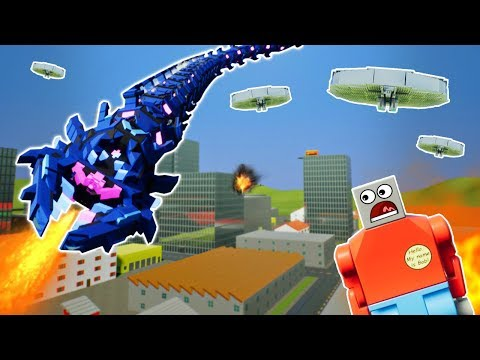 MASSIVE LEGO MONSTER DESTROYS CITY! - Brick Rigs Gameplay Challenge & Creations - UFO Invasion