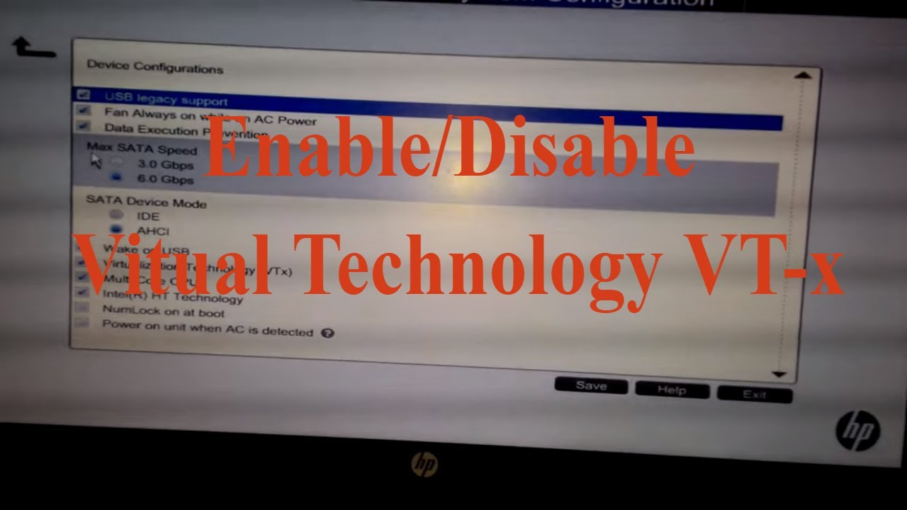 How to Enable Virtual Technology(Intel VT-x) from BIOS on your HP