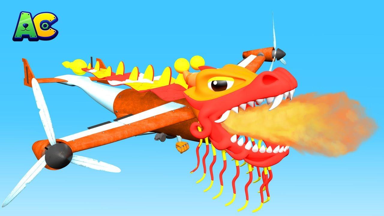 Chinesisches Neujahrsfest: Das ADLER -FLUGZEUG ist ein Drache! - Zeichentrickfilme mit Lastwagen