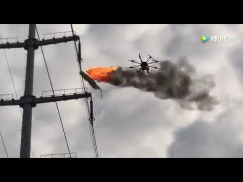 A Drone Uses Fire to Burn Trash Off Electrical Lines | Inverse