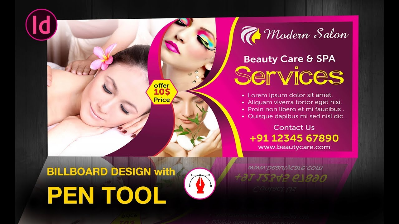 Flex Banner Design Spa Billboard Design Tutorial Indesign Youtube