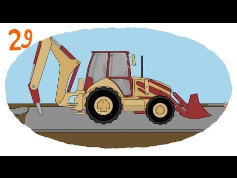 Мультик про строительную технику и рабочие машины - Раскраска: Сваебой, Отбойник, Автокран