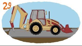 Мультик про строительную технику и рабочие машины - Раскраска: Сваебой, Отбойник, Автокран thumbnail