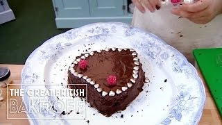 Heart-shaped chocolate and beetroot cake gamble / The Great British Bake Off