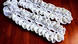Ажурный шарфик с рюшами крючком