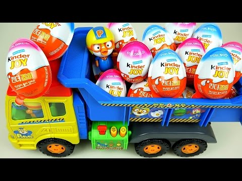 kinder-joy-surprise-eggs-and-pororo-truck-toys