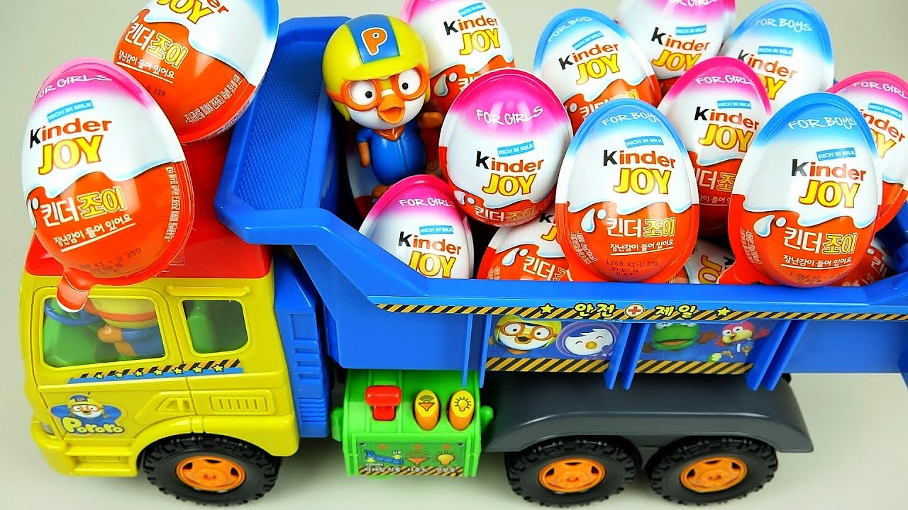 Toys For Joy : Kinder joy surprise eggs and pororo truck toys youtube