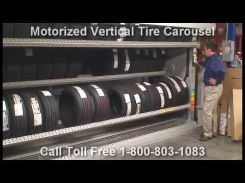 Motorized Tire Vertical Carousels Rotating Tire Storage