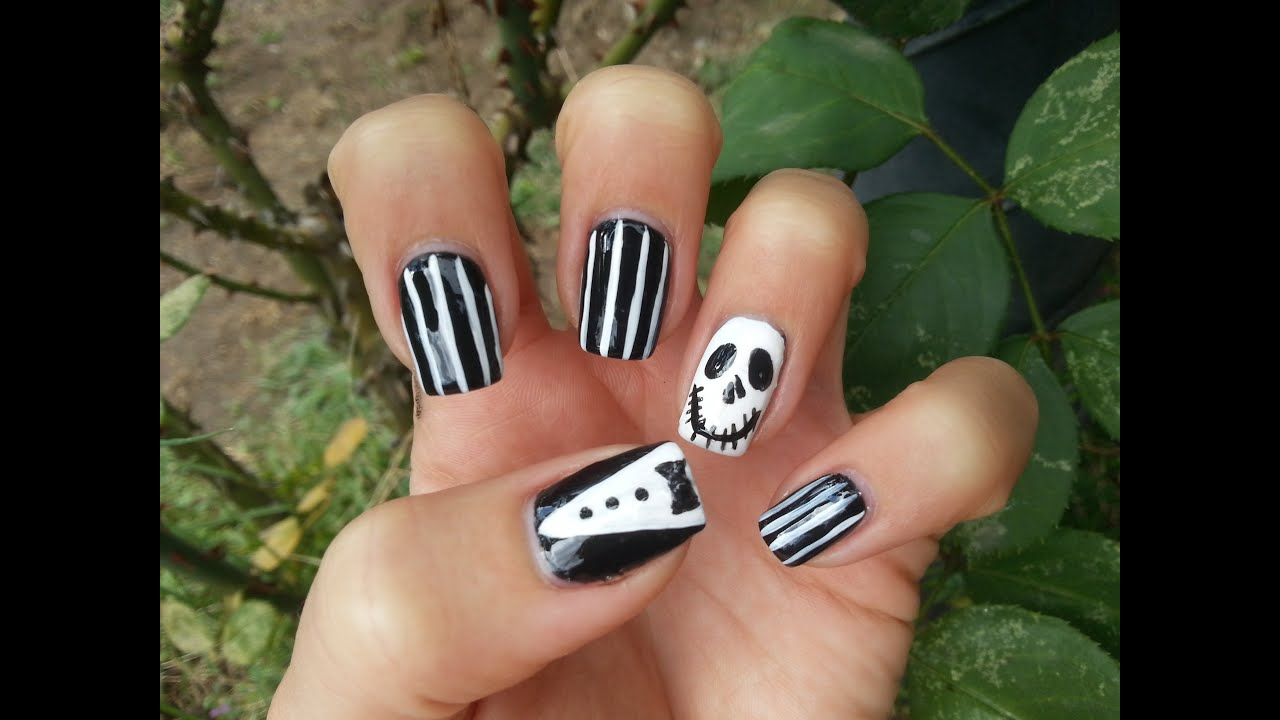 Jack Skellington Nail Art-halloween edition - YouTube