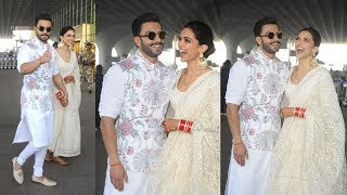 Deepika Padukone Looks so Happy With Ranveer Singh As they Leave For WEDDING Reception in Banglore