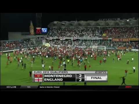 Montenegro v England Euro Qualifier 10/7/11 - Delibasic goal and delirium