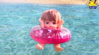 メルちゃん おもちゃ 海で水遊び★プールの水着や浮き輪で海水浴♪アンパンマンと美ら海水族館!飛行機や船で沖縄旅行するよ❤︎赤ちゃんにお土産♪Mell-chan Doll たまごMammy