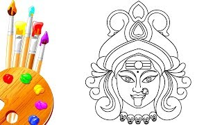 How to Draw Dussehra Navratri Hindu Goddess | Kali Devi Drawing Step by Step for Kids