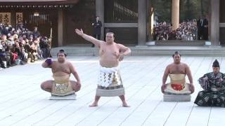 Newly promoted sumo Grand Champion Kisenosato performed a tradition...