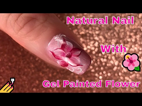 Natural Nail with Gel Painted Flower 🌺
