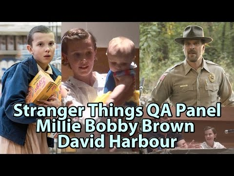 Stranger Things Millie Bobby Brown   David Harbour Panel Phoenix Comicon Fanfest