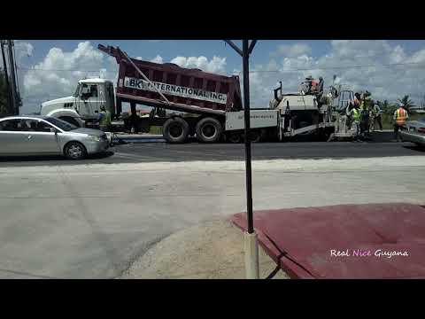 Guyana, BK resurfacing the road at Hague West Coast Demerara ( HD)