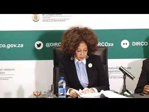 Media briefing by Minister Sisulu at DIRCO , Pretoria