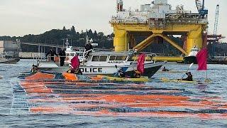 قوارب كاياك في مواجهة منصة للتنقيب   16-6-2015