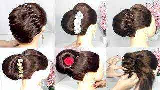 6 easy french bun trick for wedding || french roll || french twist || party hairstyle || hairstyles