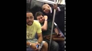 Drunk Black Man Thinks He's Gangsta and Harasses White Guy On Subway