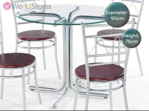 renata 90cm round glass dining table with 4 chairs movie ...
