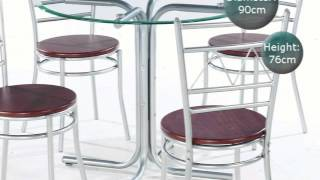 Renata 90cm Round Glass Dining Table With 4 Chairs Movie