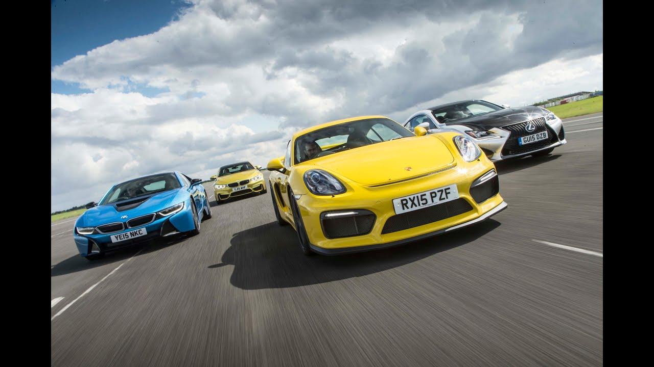 Porsche Cayman Gt4 Vs Bmw M4 Vs Bmw I8 Vs Lexus Rc F Drag Race Youtube