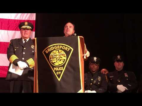 Mayor Joe Ganim Swears in new class of 29 new Bridgeport Police officers who graduated from 37th Bridgeport police academy on September 19, 2016