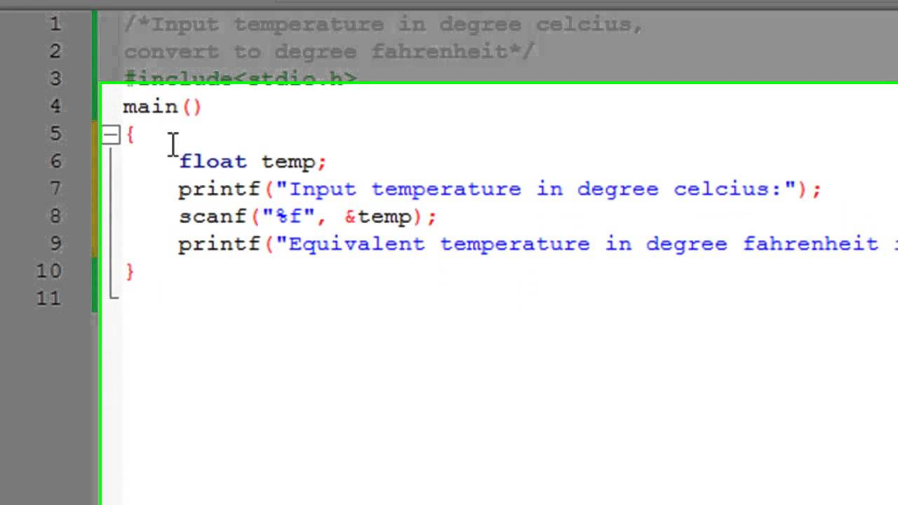 C programming tutorial 15 temperature conversion program youtube c programming tutorial 15 temperature conversion program nvjuhfo Image collections