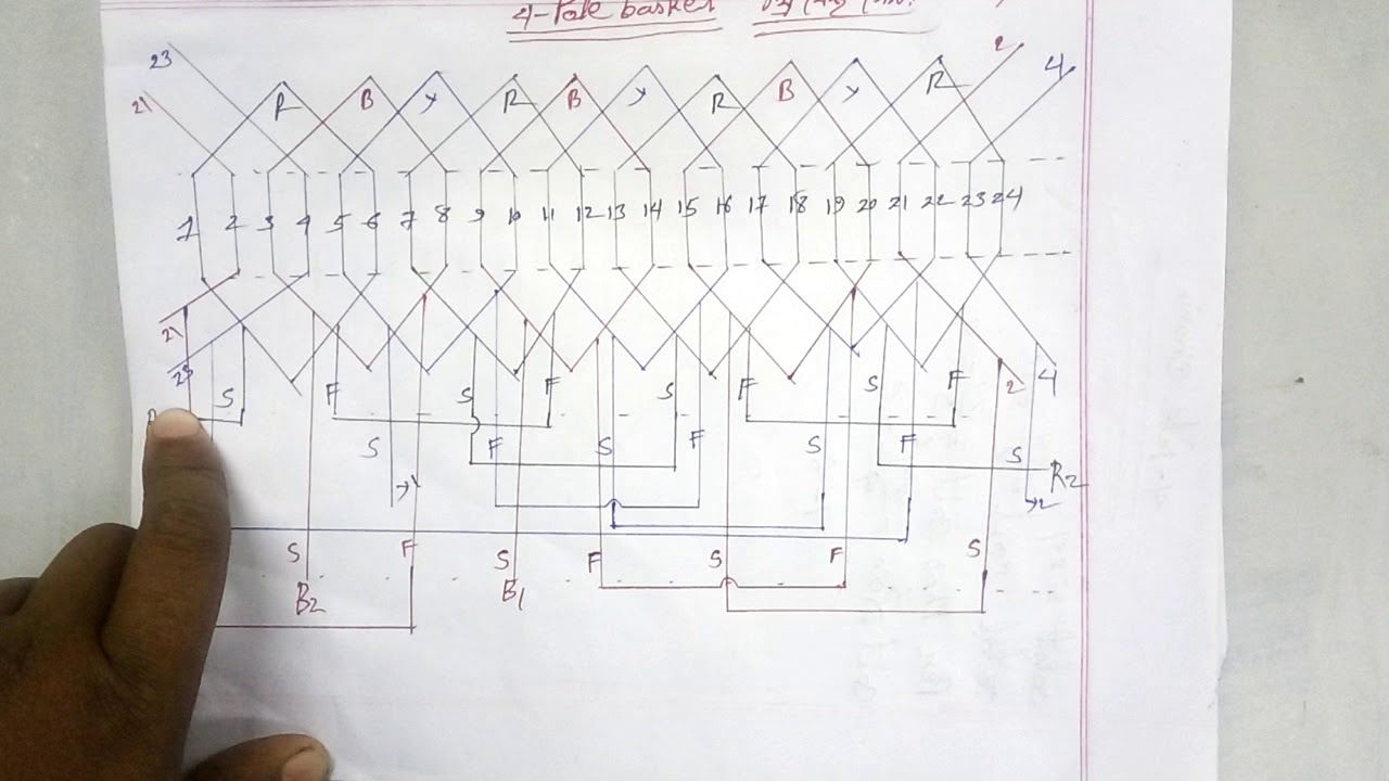 three phase motor 4 pole basket rewinding diagram. how to ...
