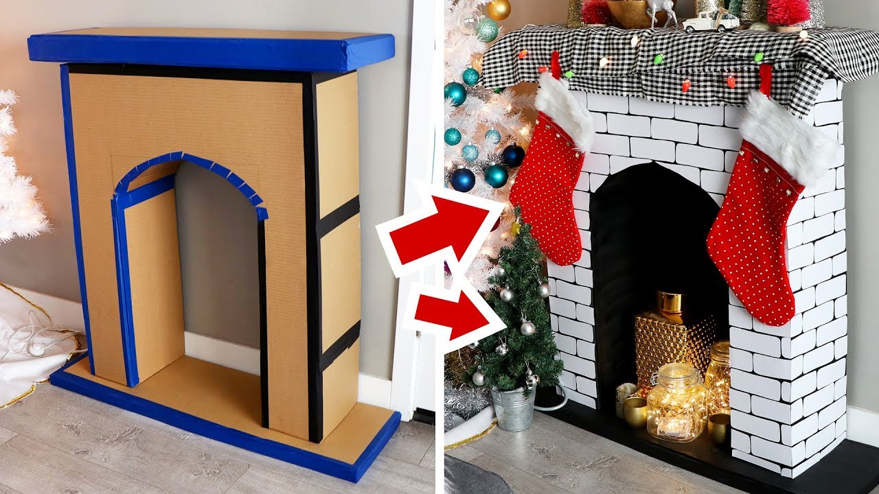 Diy faux fireplace made of cardboard hgtv handmade youtube - How to put out a fireplace ...