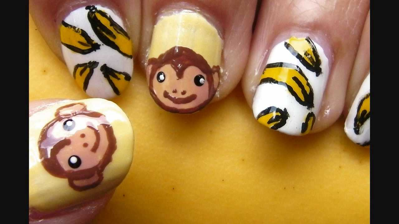 monkey and banana nail art