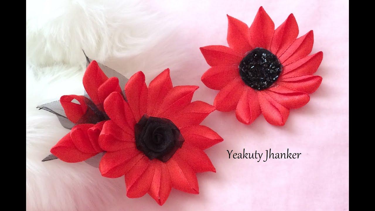 Diy Make A Kanzashi Ribbon Flower Hair Clip Youtube