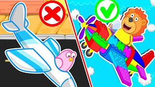 Lion Family | Build Colorful Lego Airplane and Become a Pilot | Cartoon for Kids