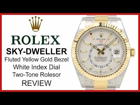 Rolex SKY-DWELLER: Two-Tone Yellow-Gold/Steel, white Dial, fluted Bezel, Oyster - REVIEW 326933